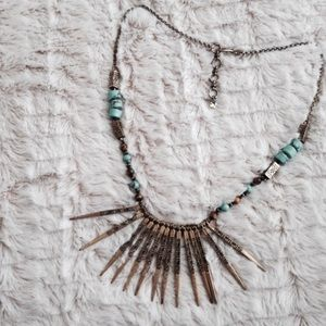 Boho turquoise and bronzed statement necklace